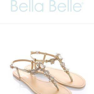 70ae87935d086 Bella Belle Shoes - Bella Belle Luna Crystal Jewel Gold Dress Sandals
